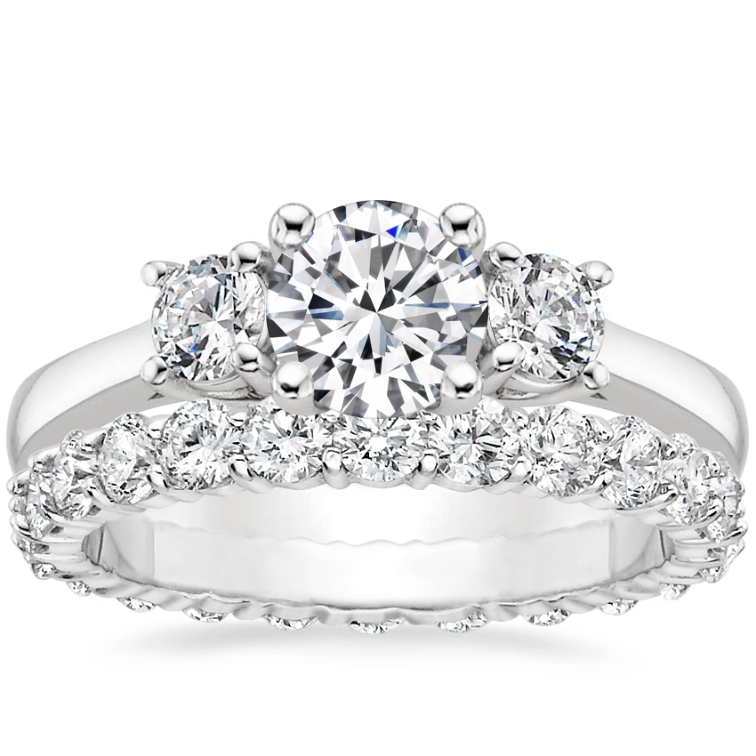 Platinum Petite Three Stone Trellis Ring (1/3 ct. tw.) with Diamond Eternity Ring (1 1/3 ct. tw.)