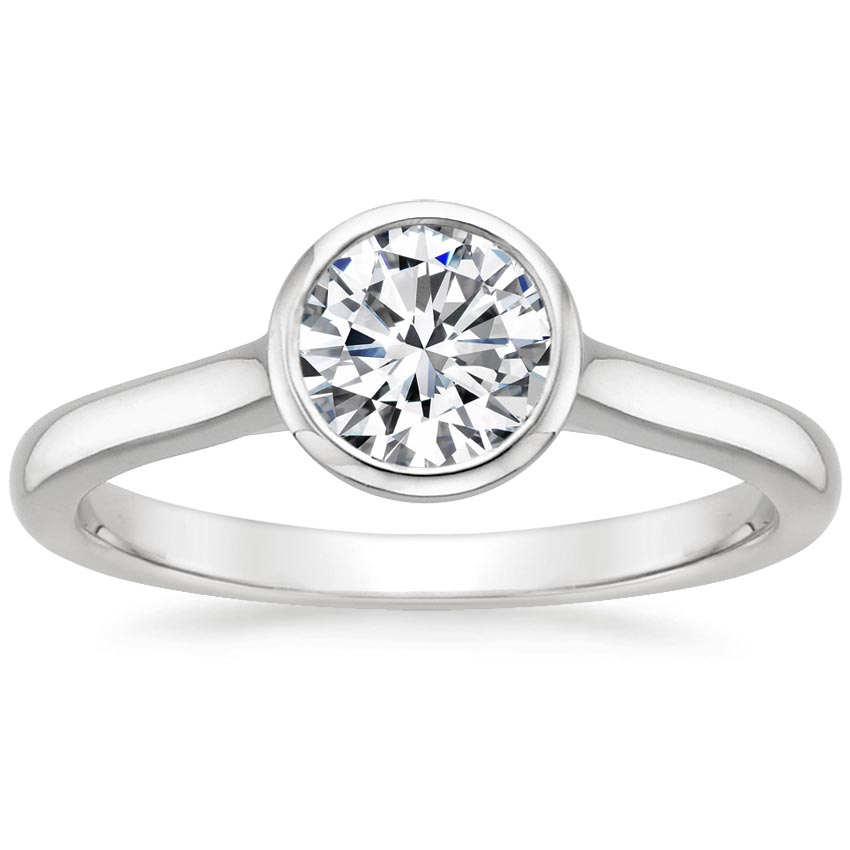18K White Gold Luna Ring, top view