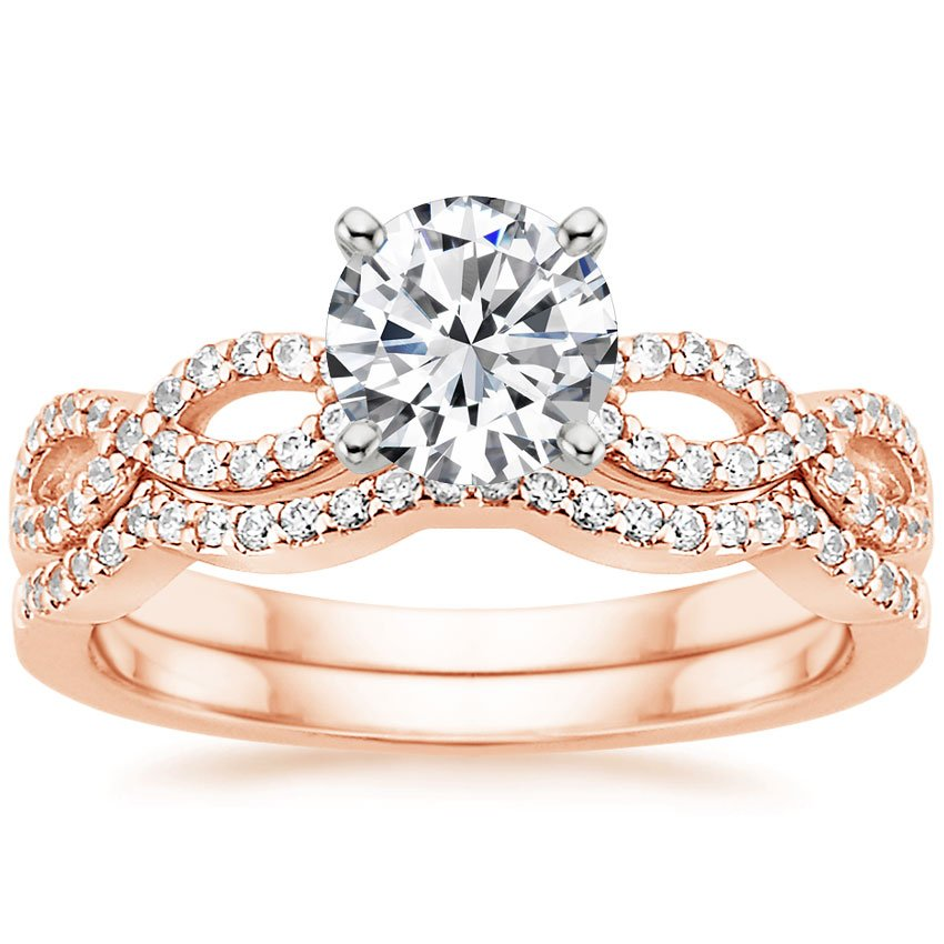 14K Rose Gold Infinity Diamond Ring Matched Set (1/3 ct. tw.), top view