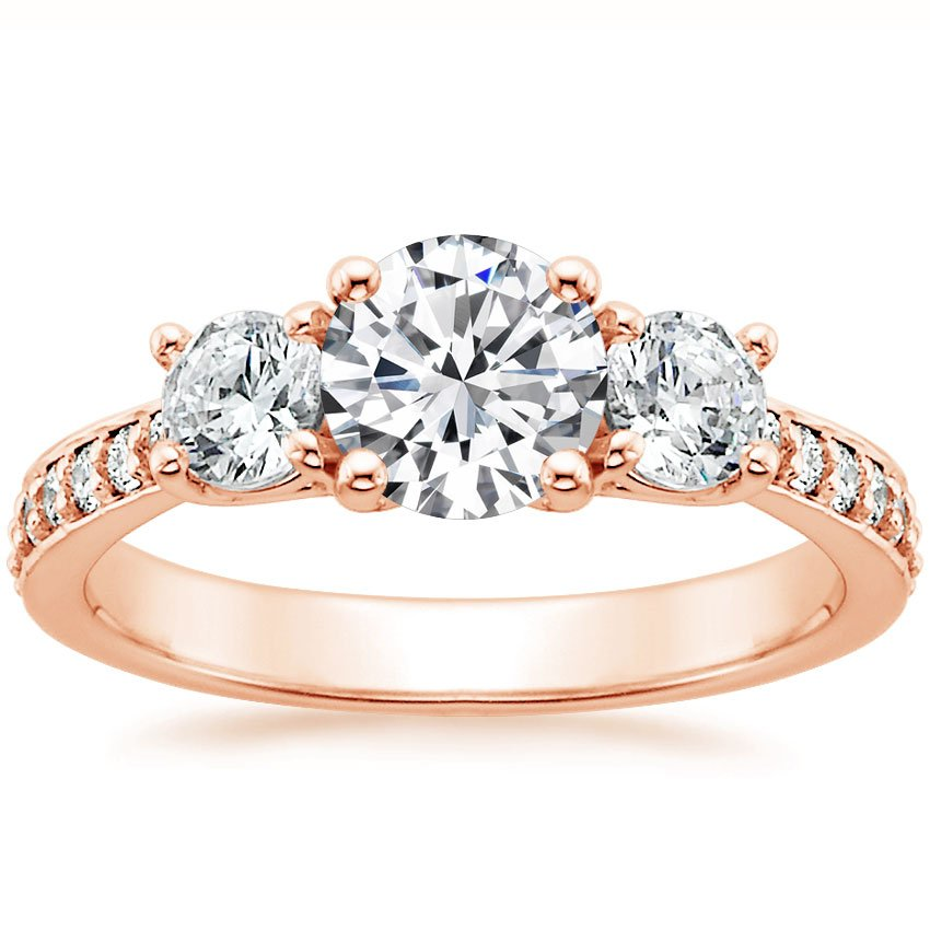14K Rose Gold Three Stone Round Diamond Pavé Trellis Ring, top view