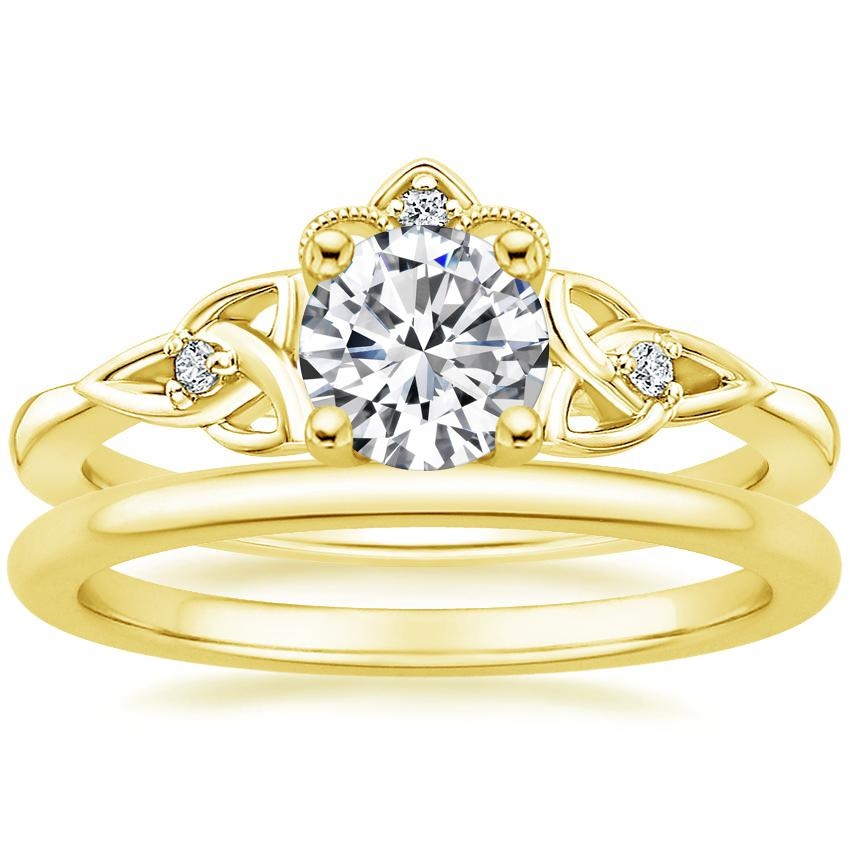 18K Yellow Gold Celtic Crown Diamond Ring with Petite Comfort Fit Wedding Ring