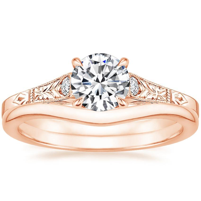 14K Rose Gold Valentina Diamond Ring with Petite Curved Wedding Ring