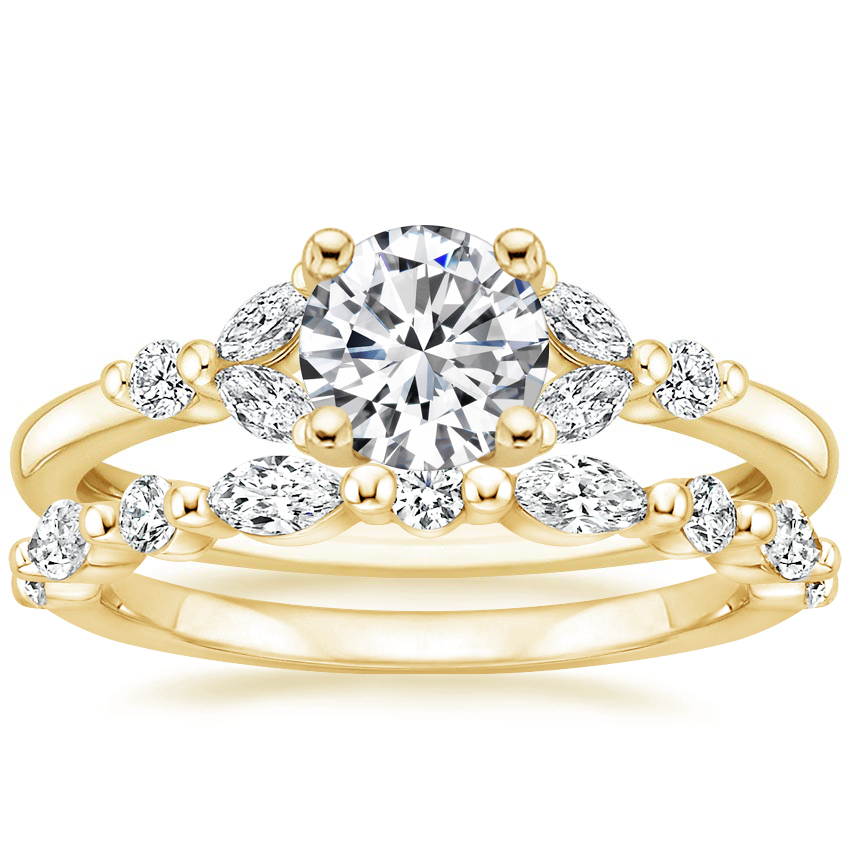18K Yellow Gold Verbena Diamond Ring with Versailles Diamond Ring (3/8 ct. tw.)
