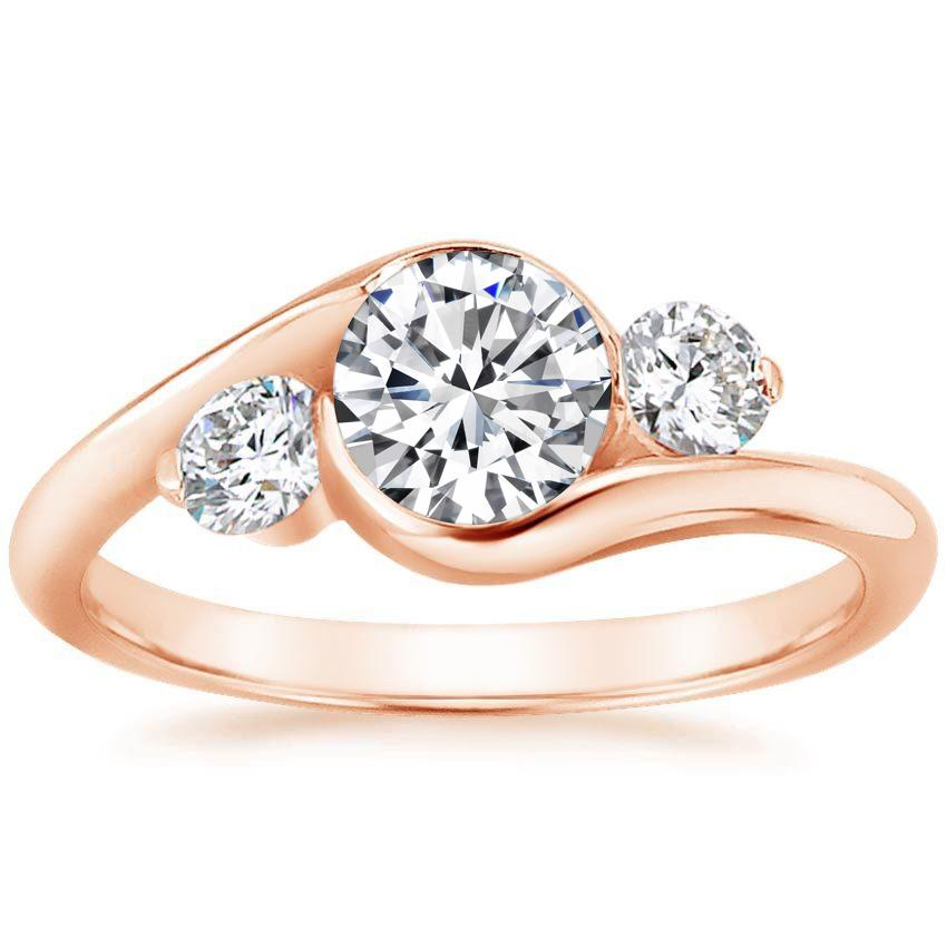 14K Rose Gold Cascade Three Stone Ring (1/3 ct. tw.), top view