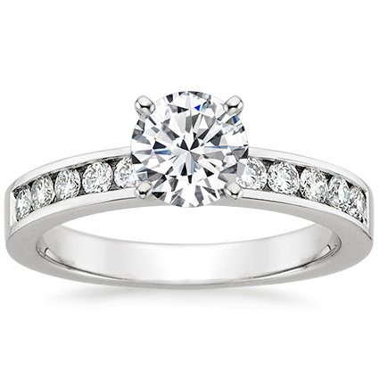 18K White Gold Channel Set Round Diamond Ring (1/3 ct. tw.), top view