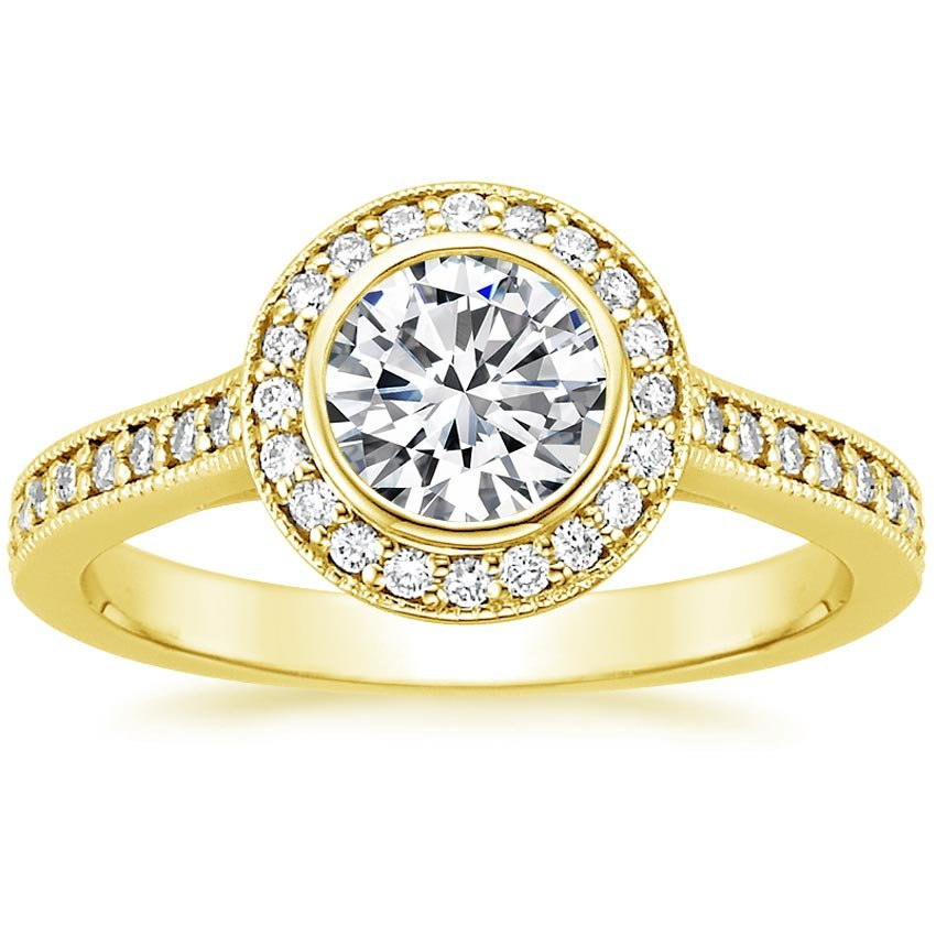 18K Yellow Gold Round Bezel Halo Diamond Ring with Side Stones (1/3 ct. tw.), top view