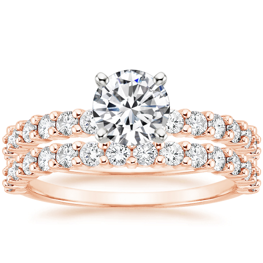 14K Rose Gold Shared Prong Diamond Bridal Set (7/8 ct. tw.)