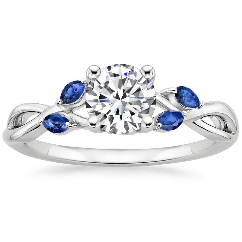 Platinum Willow Ring With Sapphire Accents, top view