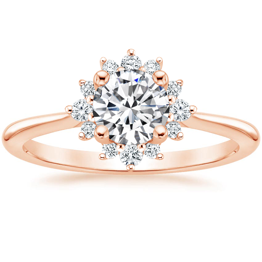 Round Luxe Compass Inspired Halo Engagement Ring