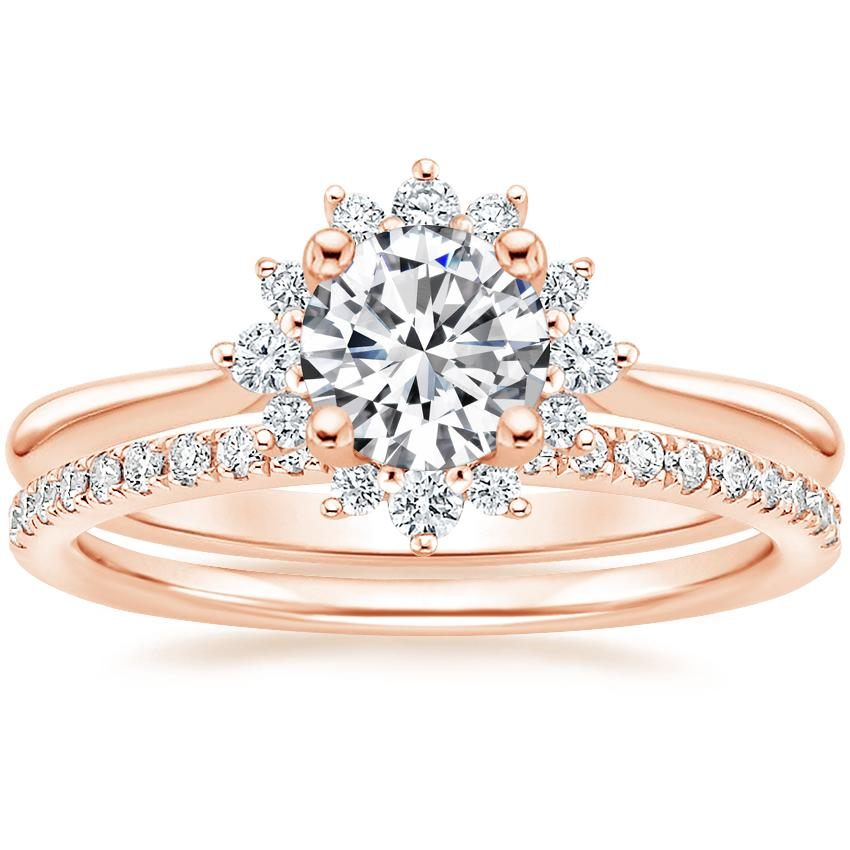 14K Rose Gold Sol Diamond Ring with Ballad Diamond Ring (1/6 ct. tw.)