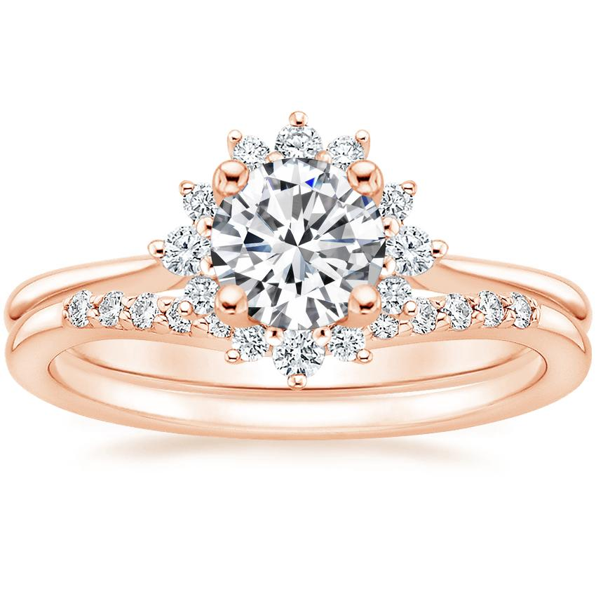 14K Rose Gold Sol Diamond Ring with Petite Curved Diamond Ring (1/10 ct. tw.)