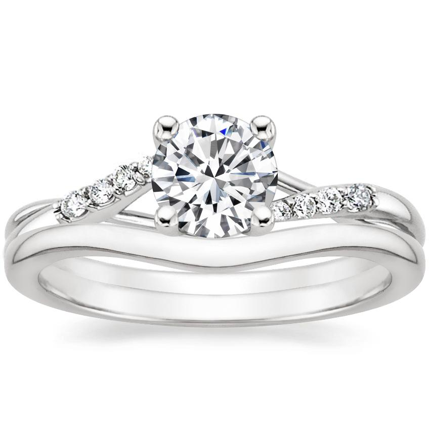 18K White Gold Chamise Diamond Ring with Petite Curved Wedding Ring