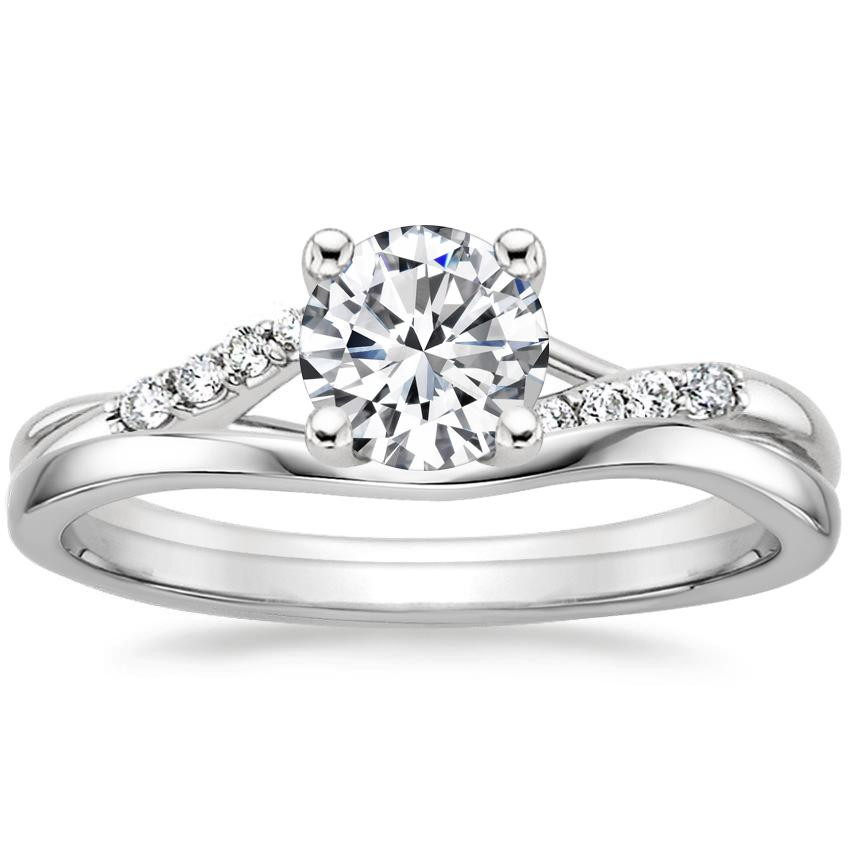 18K White Gold Chamise Diamond Ring with Grace Contoured Ring