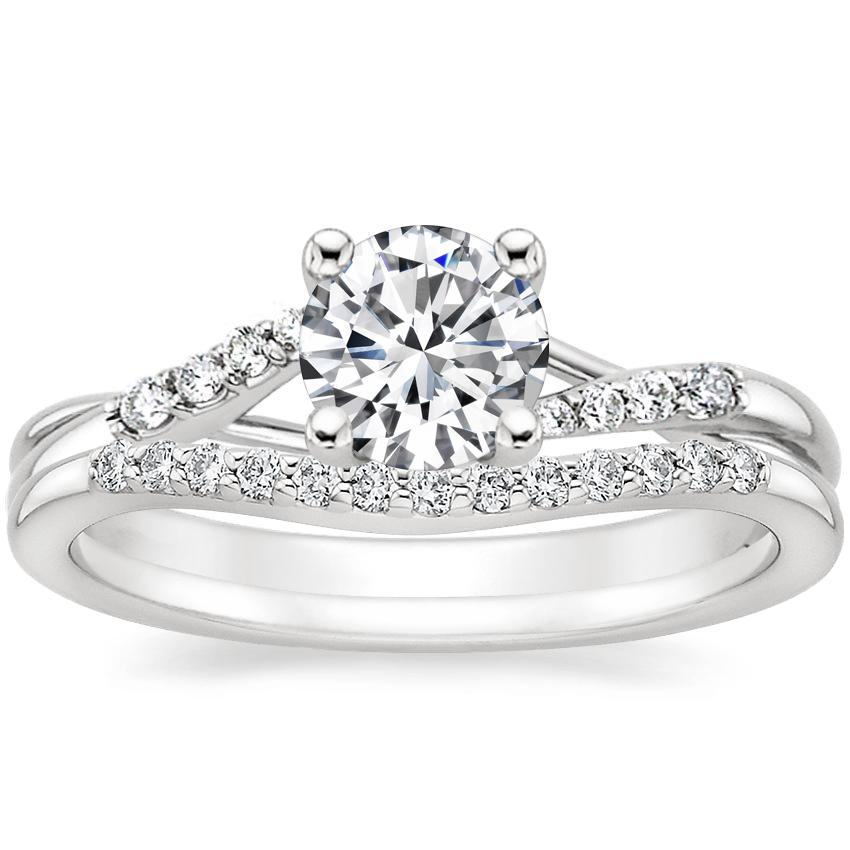 18K White Gold Chamise Diamond Ring with Petite Curved Diamond Ring