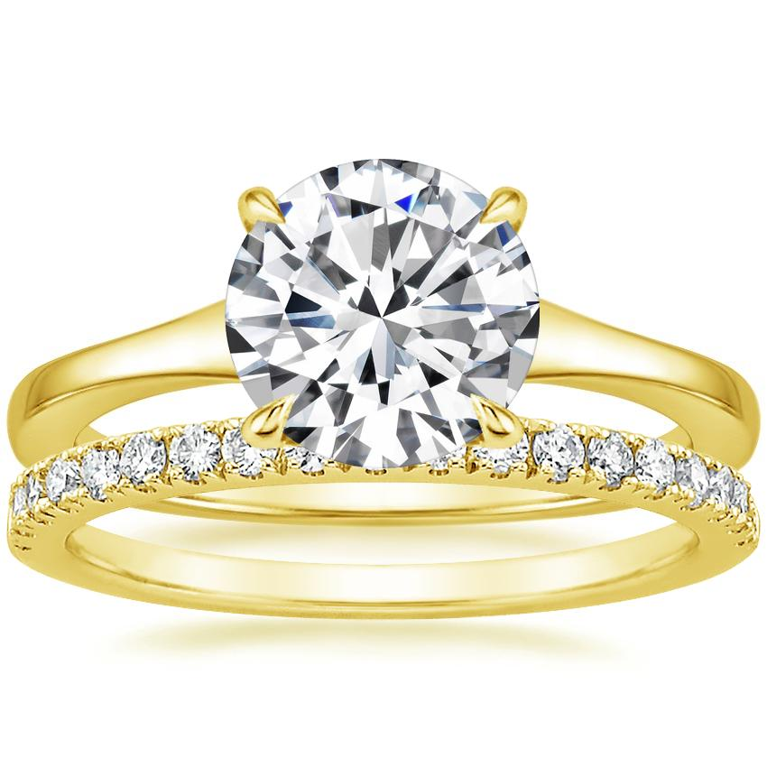 18K Yellow Gold Muse Ring with Bliss Diamond Ring (1/5 ct. tw.)