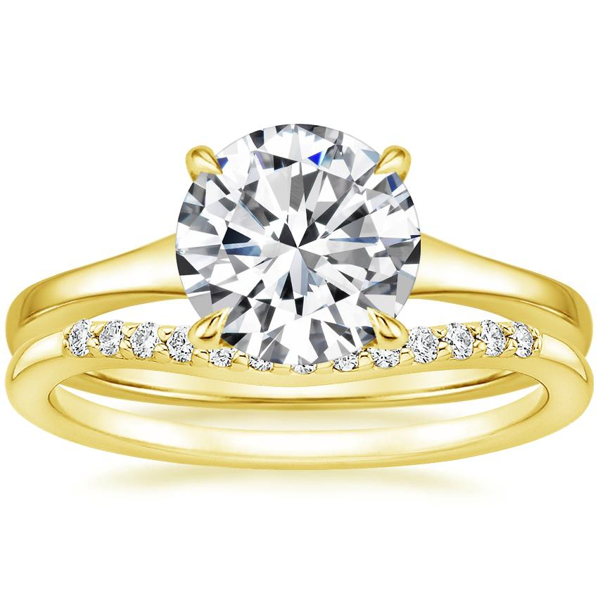 18K Yellow Gold Muse Ring with Petite Curved Diamond Ring