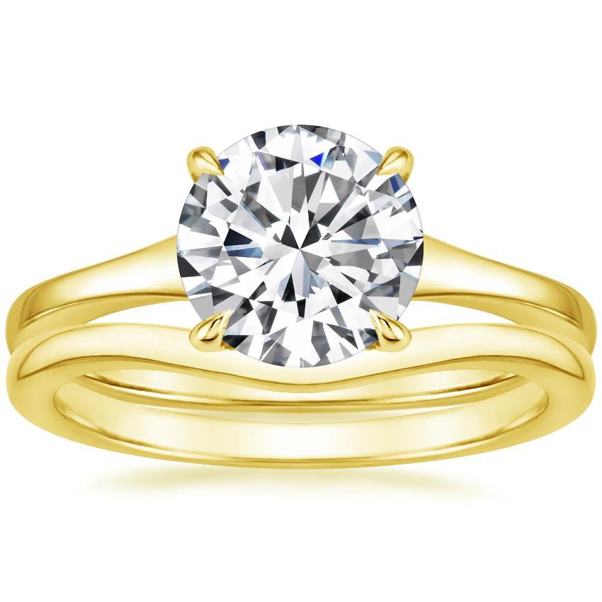 18K Yellow Gold Muse Ring with Petite Curved Wedding Ring