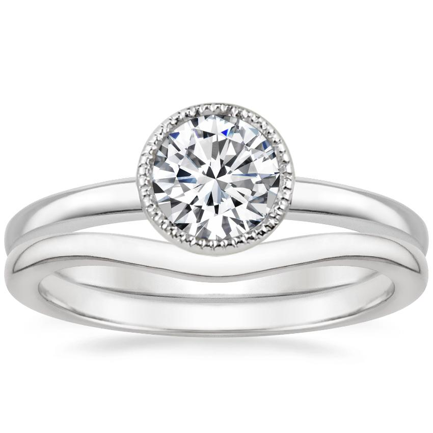 Platinum Sierra Ring with Petite Curved Wedding Ring