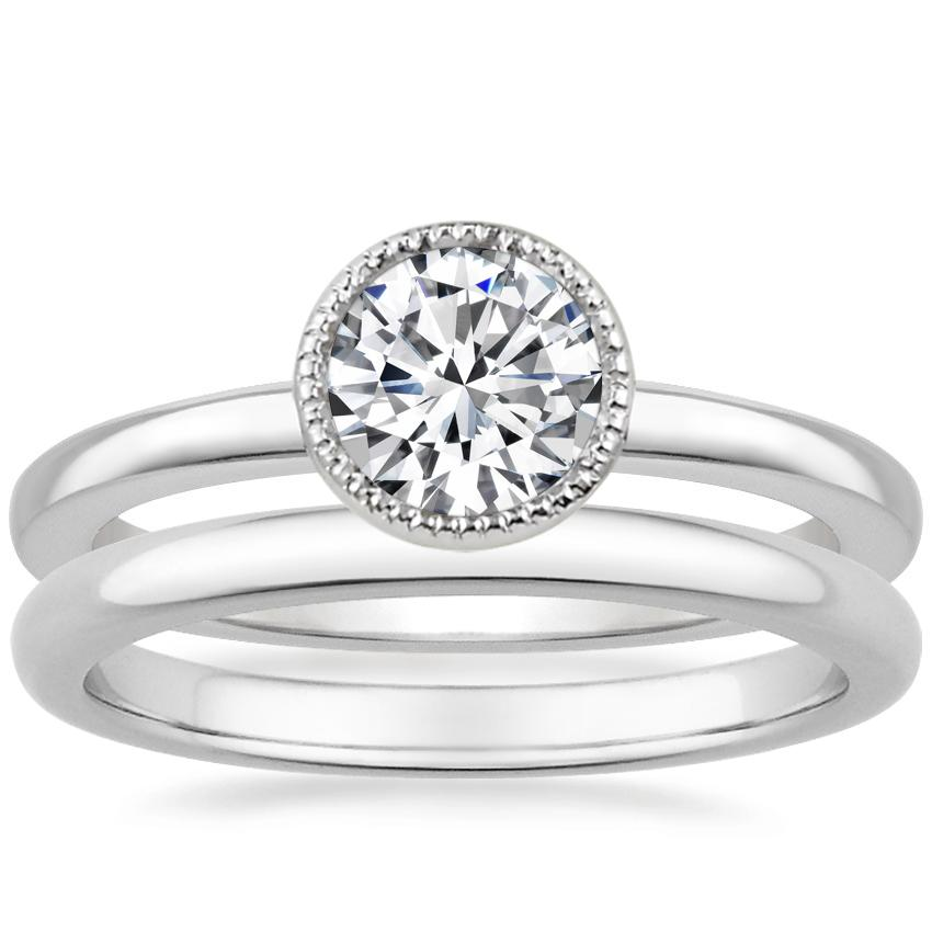 Platinum Sierra Ring with 2mm Comfort Fit Wedding Ring