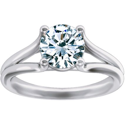 18K White Gold Unity Ring, top view