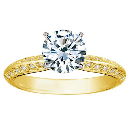 18K Yellow Gold Luxe Garland Diamond Ring, top view