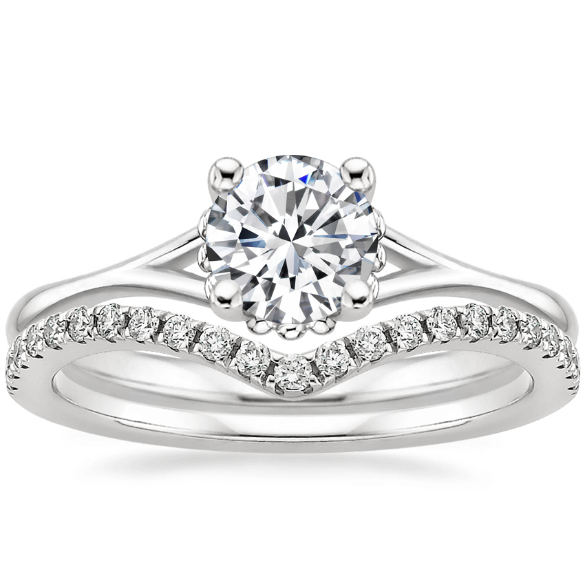 18K White Gold Cava Ring with Flair Diamond Ring (1/6 ct. tw.)