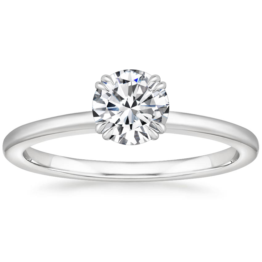 Round Double Claw Prong Accents Engagement Ring
