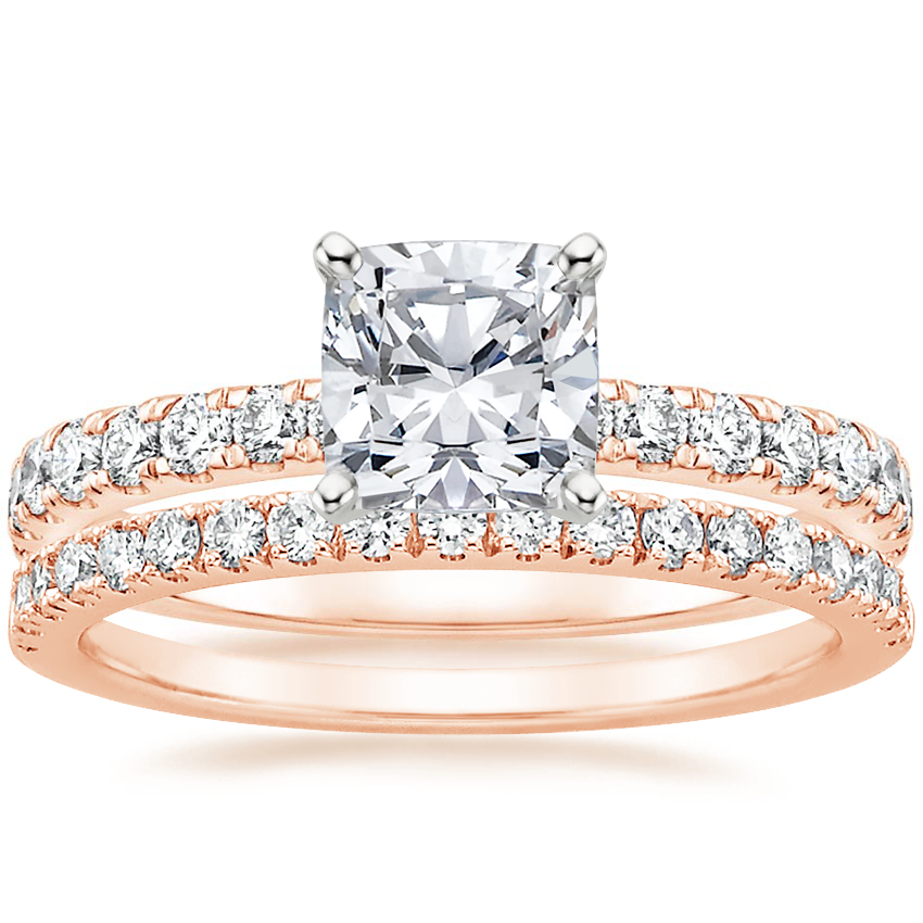 14K Rose Gold Constance Diamond Ring (1/3 ct. tw.) with Bliss Diamond Ring (1/5 ct. tw.)