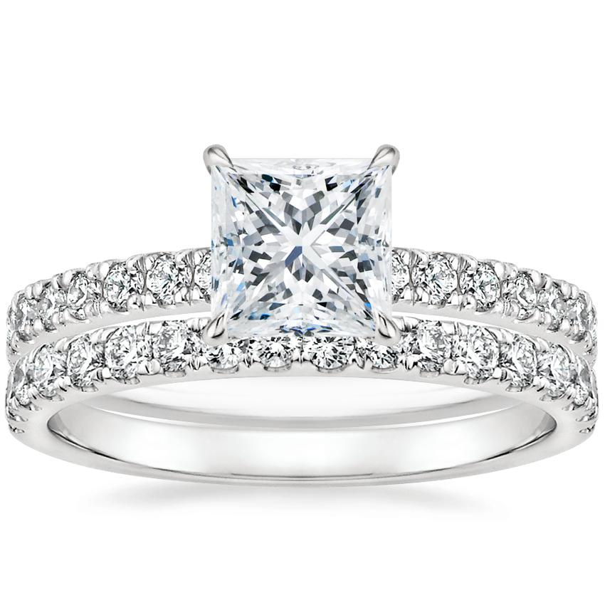 18K White Gold Clara Diamond Ring with Constance Diamond Ring (1/3 ct. tw.)