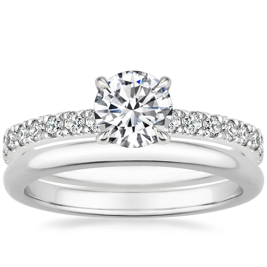 18K White Gold Clara Diamond Ring with 2mm Comfort Fit Wedding Ring
