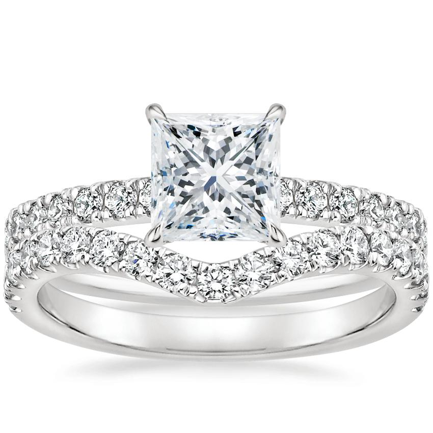 18K White Gold Clara Diamond Ring with Luxe Flair Diamond Ring (1/3 ct. tw.)