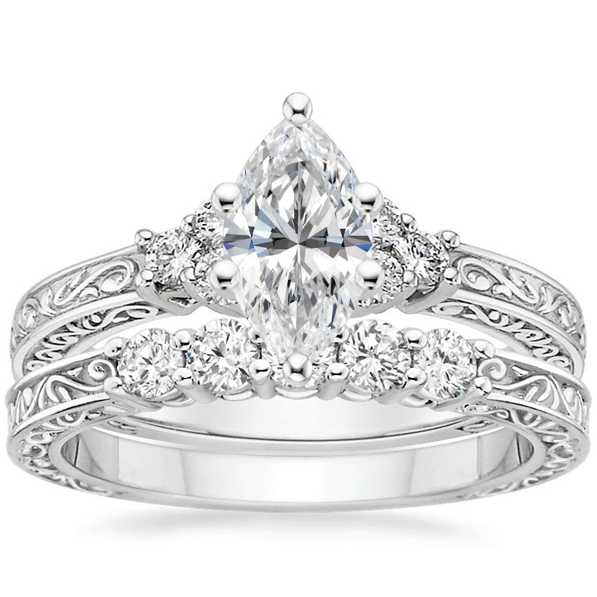 18K White Gold Adorned Trio Diamond Ring with Delicate Antique Scroll Five Stone Diamond Ring (1/4 ct. tw.)