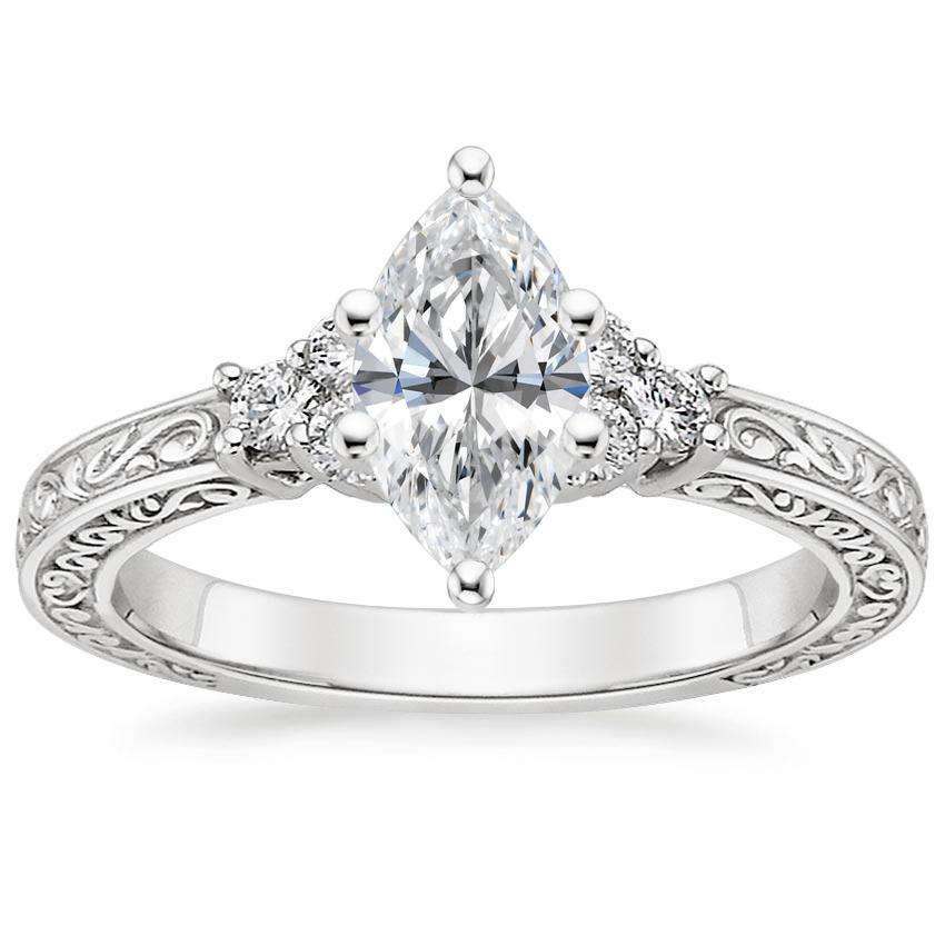 Marquise Vintage Ring Scroll Setting