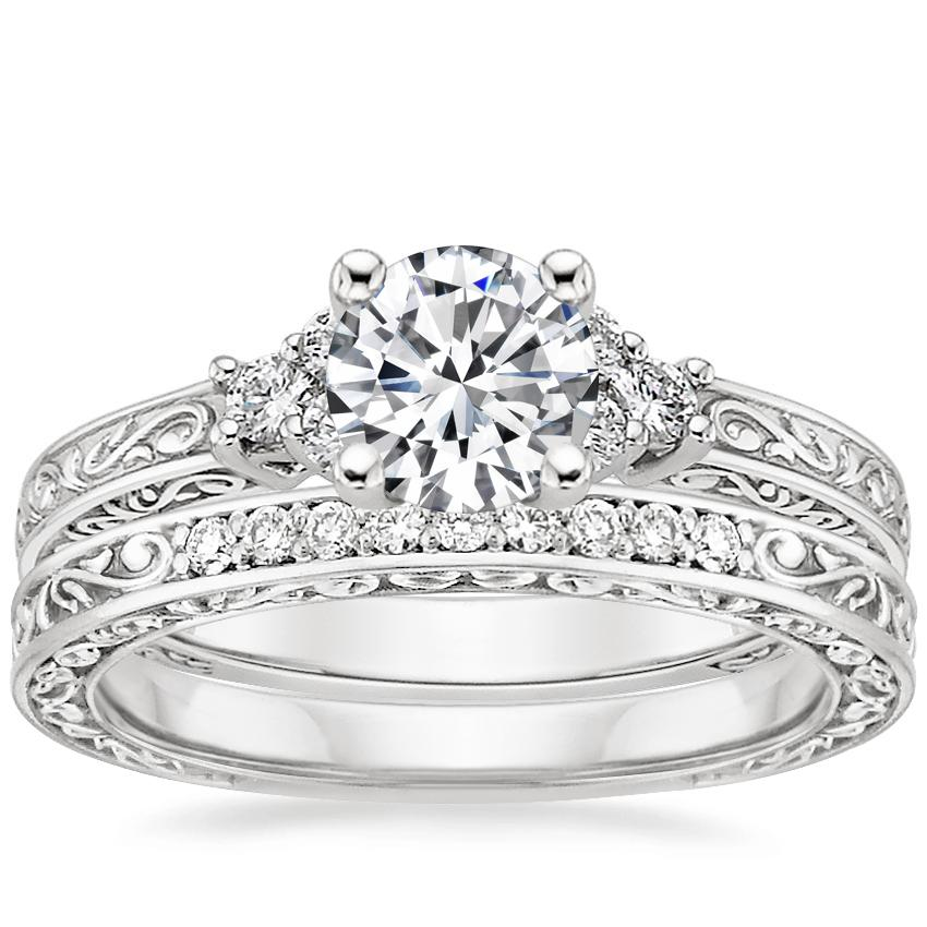 18K White Gold Adorned Trio Diamond Ring with Delicate Antique Scroll Ring (1/15 ct. tw.)