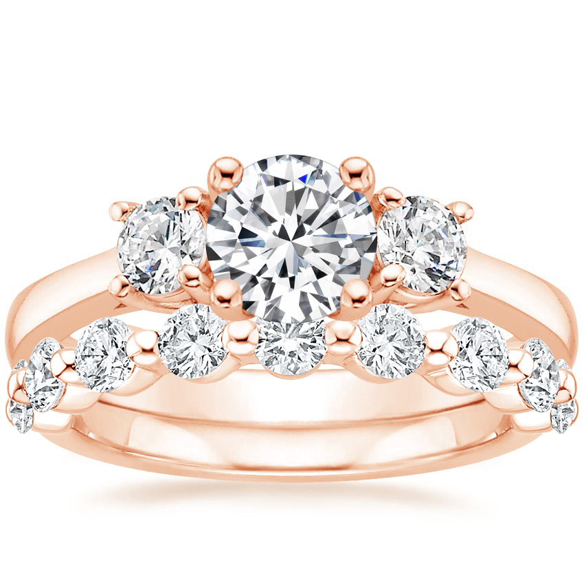 14K Rose Gold Petite Three Stone Trellis Diamond Ring (1/3 ct. tw.) with Monaco Diamond Ring (3/4 ct. tw.)