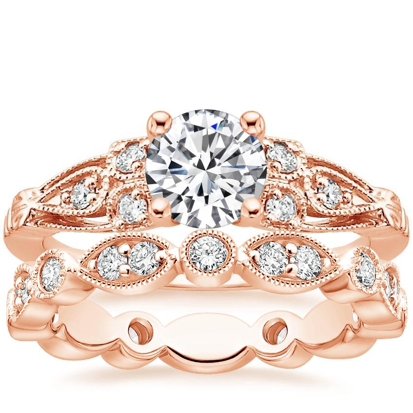 14K Rose Gold Rosabel Diamond Ring with Luxe Tiara Eternity Diamond Ring (1/2 ct. tw.)