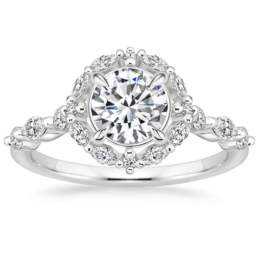 Round Marquise Diamond Halo Engagement Ring