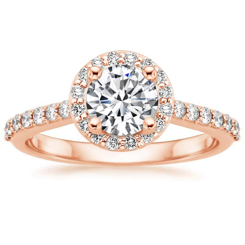 14K Rose Gold Halo Diamond Ring with Side Stones (1/3 ct. tw.), top view