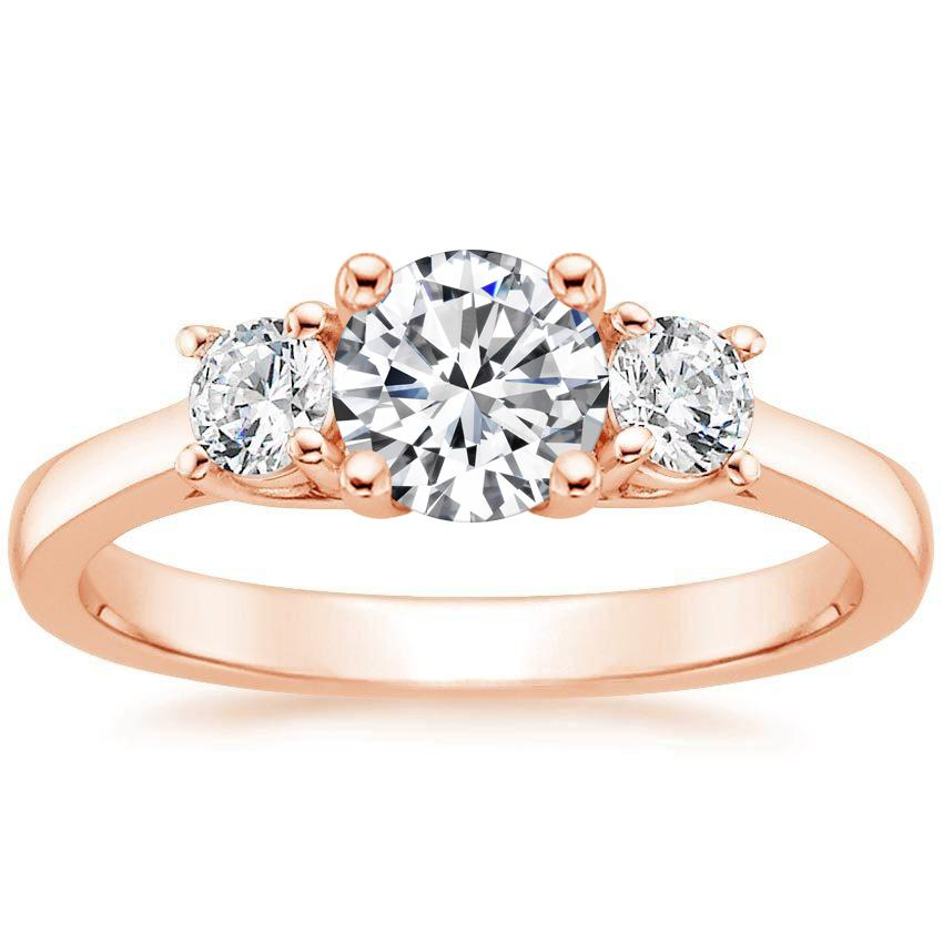 14K Rose Gold Petite Three Stone Trellis Diamond Ring (1/3 ct. tw.), top view