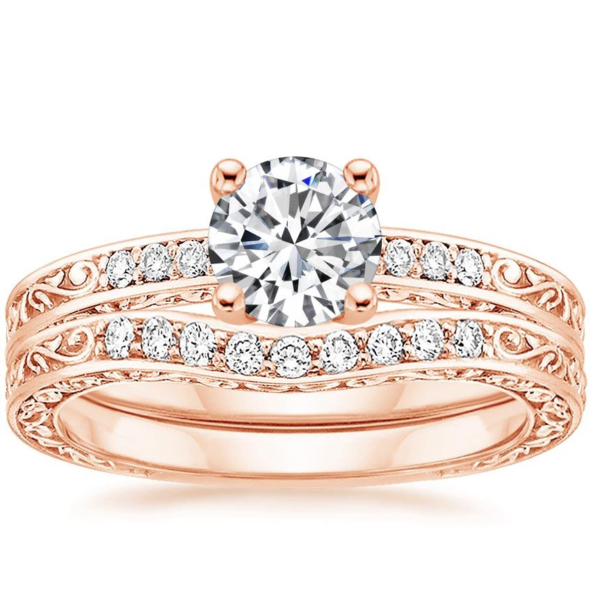 14K Rose Gold Delicate Antique Scroll Contoured Diamond Bridal Set