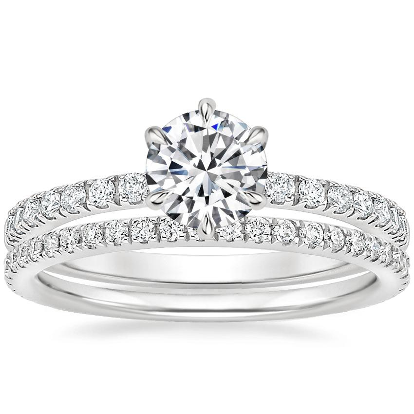Platinum Poppy Diamond Ring with Luxe Ballad Diamond Ring (1/4 ct. tw.)