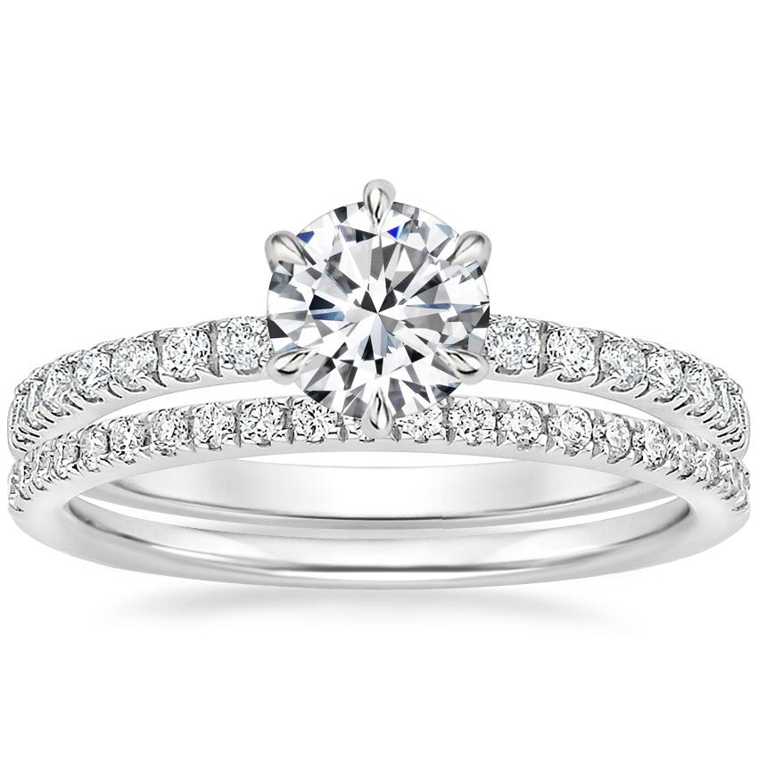 Platinum Poppy Diamond Ring with Ballad Diamond Ring (1/6 ct. tw.)