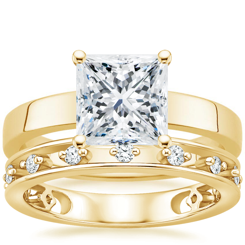 18K Yellow Gold Marina Ring with Callie Diamond Ring