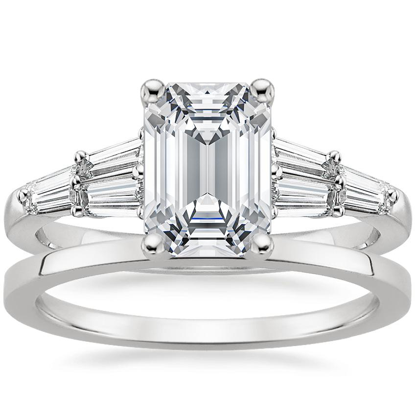 Platinum Harlow Diamond Ring with Petite Quattro Wedding Ring