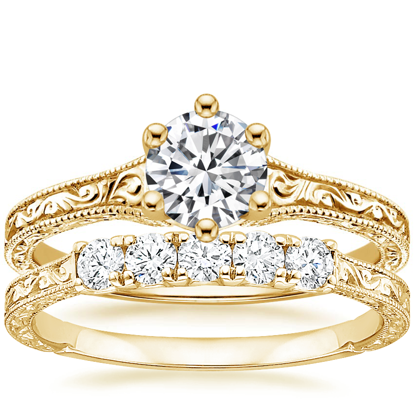 18K Yellow Gold Hudson Ring with Hudson Five Stone Diamond Ring (1/4 ct. tw.)