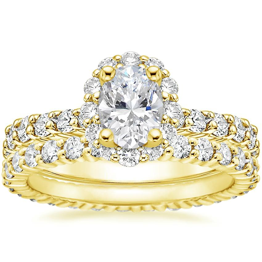 18K Yellow Gold Lotus Flower Diamond Ring with Side Stones with Shared Prong Eternity Diamond Ring (7/8 ct. tw.)