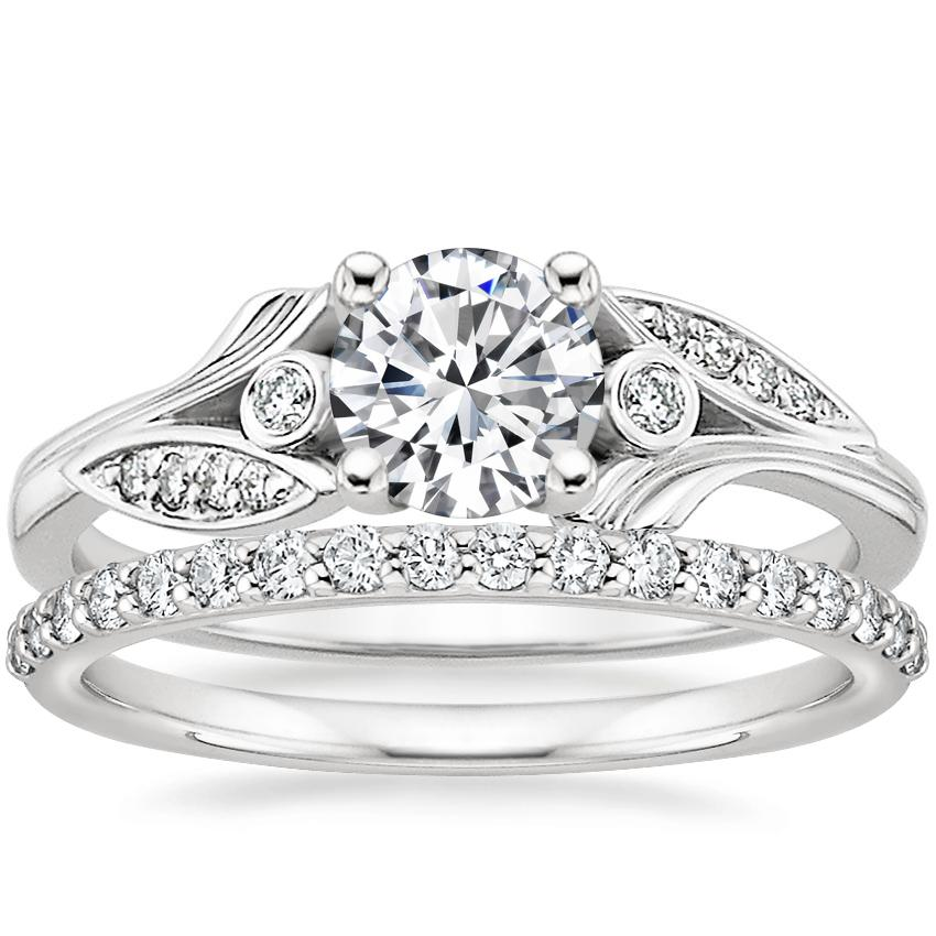 18K White Gold Jasmine Diamond Ring with Petite Shared Prong Diamond Ring (1/4 ct. tw.)