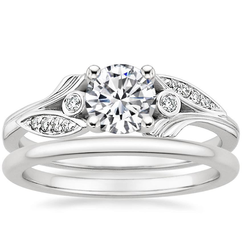 18K White Gold Jasmine Diamond Ring with Petite Comfort Fit Wedding Ring