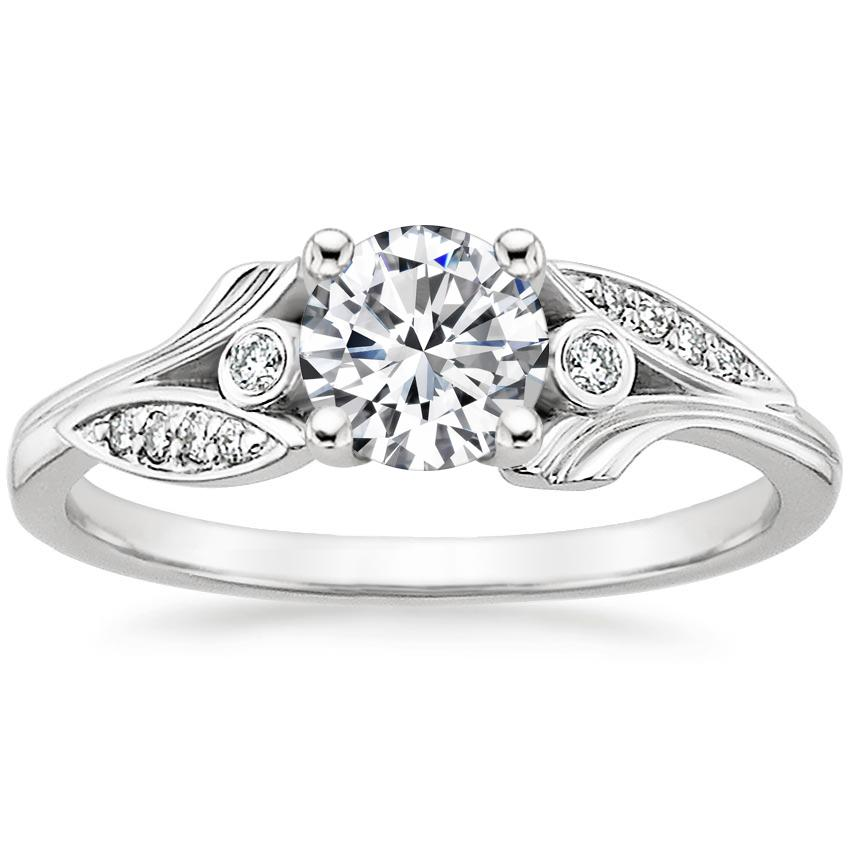 Round Floral Diamond Engagement Ring
