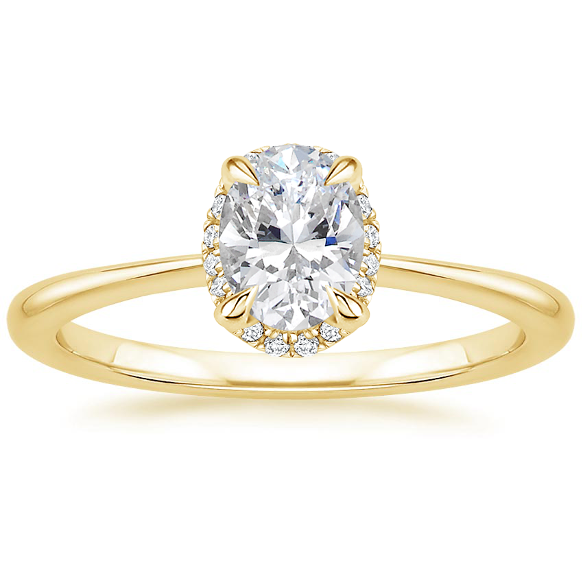 Oval Scalloped Diamond Gallery Engagement Ring